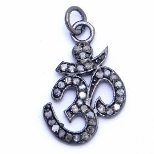 Nanplanetsilver Pave Diamond Om Symbol Charm Pendant Size 20x14mm