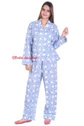 Hand Block Ladies Night Wear Cotton Pajama Set