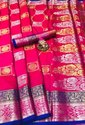 New Arrival Litchi Silk With Silver And Gold Zari Concept Saree