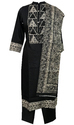 Lavanya Black Atlas Fabric Suit OT Design Dupatta