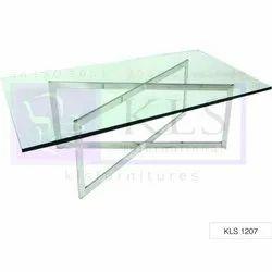 2.5-3.5 Feet Rectangular KLS-1207 Cafe Glass Table