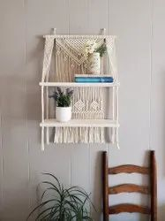 ESSEDEW White MACRAME WALL HANGING SHELF, For Home, Size: 17 X 33 Inch