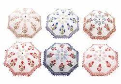 Indian Hand Printed Umbrellas Cotton Sun Parasol Rajasthani