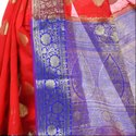 Red Cotton Blend Resham Zari Work Banarasi Saree