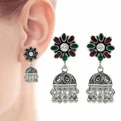 Fabulous 925 Sterling Silver Green Onyx CZ Ruby Earring
