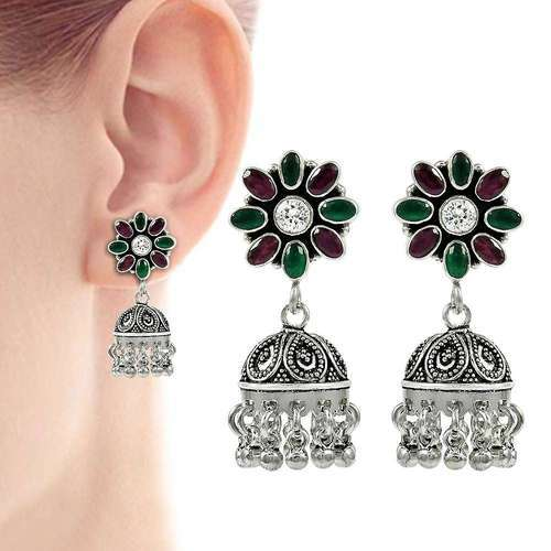 e7cd59390 Pearl India International Fabulous 925 Sterling Silver Green Onyx CZ Ruby  Earring, Size : 4.5
