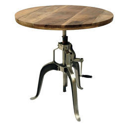 Round Wooden And Iron Dining Table