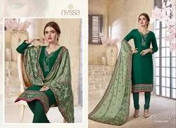Nyssa Green Fancy Printed Salwar Suit, Dry clean