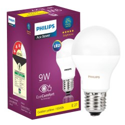 Round 9 W Philips E27 9w LED Bulb 3000K (Warm White)