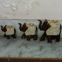 Wooden Elephant Statue With Metal Work