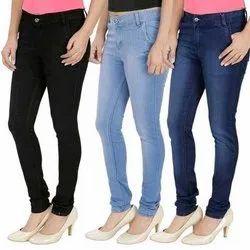 Regular Fit Plain Ladies Fancy Denim Jeans, Packaging Type: Packet