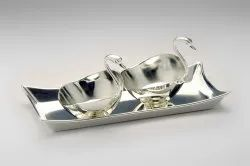 Silver Plated Tray with 2 Duck Bowls- TS1002