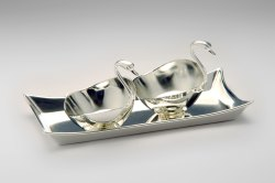 Silver Plated Tray with 2 Duck Bowls