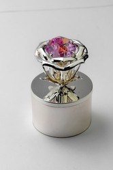 Silver Plated Jewellery Box With Pink Stone in Flower (Size-Small)