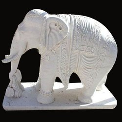 White Elephant Marble Statue