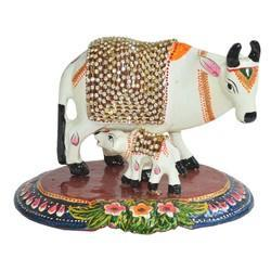 Multicolour Metal Meena Cow With Stone Work, For Promotional Use