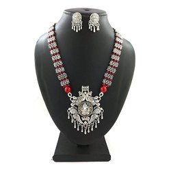 Oxidized Beads Necklace Set