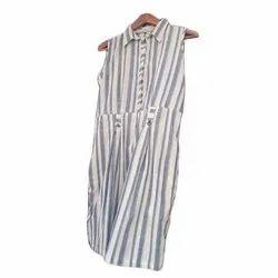Casual Wear Ladies Striped Cotton Sleeveless dress, Handwash, Size: S-xl