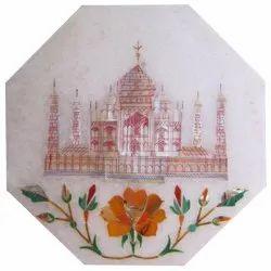 Marble Inlay Taj Mahal Design Table Top