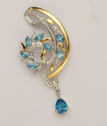 Pretty Blue And White Pendant With Earrings