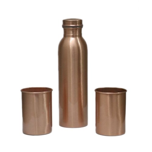 Screw Cap Polished Copper Water Bottle Glass Set, for Drinking Water