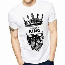 Cotton Half sleeve Mens Round Neck Printed T Shirt, Packaging Type: Packet, Size: M