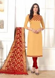 330abcda21 Party Wear Beige Cotton Churidar Salwar Suit With Banarasi Silk Dupatta