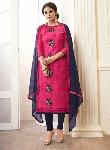 Blissta Chudidar Salwar Attractive Cotton Unstitched Embroidered Dress Material