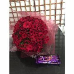 50 Rose Bunch With 2 Cadbury Silk Chocolate