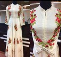 Party Wear Stitched Ladies White Embroidered Kurti