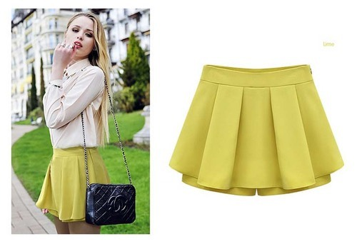 5469fb1296 Lemon Yellow Short Pleated Chiffon Pant Skirt, Size: M And L, Rs 450 ...