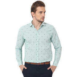 Mens Green Printed Casual Shirt