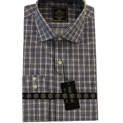 Icfc Collar Neck Mens Designer Check Cotton Shirt