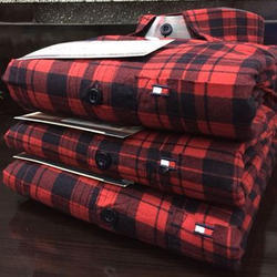 Cotton and Satin Red Checked Shirt, Size: M-XXL