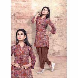 Maroon Cotton Women Printed Salwar Suit
