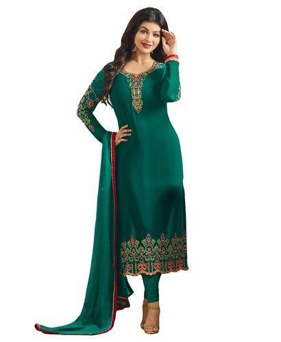 Georgette Dark Green Stylish Party Wear Salwar Kameez Suits Rs 2035