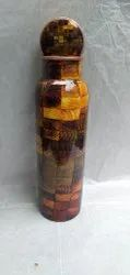 Glossy  Meena Print Copper Bottle