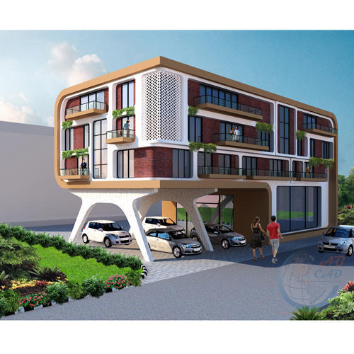 Showroom Exterior 3D Design In Gurgaon, Sector 13 By AB