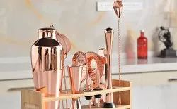 Copper Bar Set Cocktail Shaker Set with Stylish Bamboo Stand