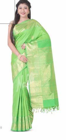 5f1515b3ccdf0 Kancheepuram Silk Wedding Wear Green Kanchipuram Silk Saree