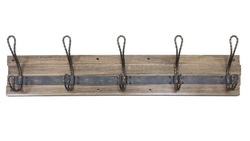 Iron and Wooden Decorative 5 Hooks