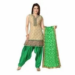 Designer Ladies Green Salwar Suit, Machine wash