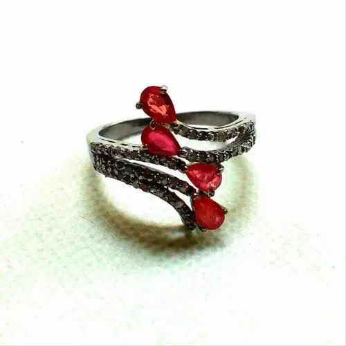 Red Ruby sterling silver ring