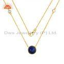 CZ Lapis Lazuli Gemstone Gold Plated Silver Designer Chain Necklaces