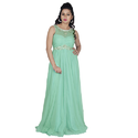 Georgette Sleeveless Party Wear Gown, Size: S-XL