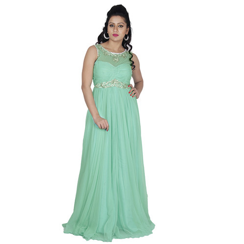 a73e2b3c859 Georgette Sleeveless Party Wear Gown