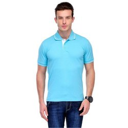 Cotton Plain Mens Casual Wear Polo Neck T-Shirt