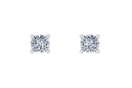 White Gold And Cubic Zirconia Stud Earrings For Women