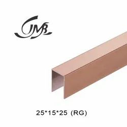 Stainless Steel Rose Gold Finish Glass Railing U Channel