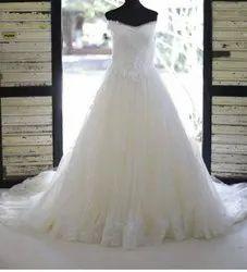 Off-white Ladies Cotton Wedding Gown